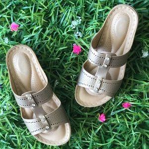 Italina Comfort Gold Double Strap Slide Sandal
